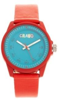 Crayo Unisex Jolt Red Leatherette Strap Watch 34mm