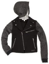 DKNY Girl's Chelsea Ponte & Sparkle French Terry Moto Jacket