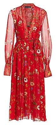 Oscar de la Renta Women's Floral Chiffon Midi Dress