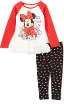Children's Apparel Network Minnie Mouse Red Raglan Tee & Leggings - Infant, Toddler & Girls