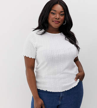 New Look Plus Curve t-shirt with frill edge in white-Cream