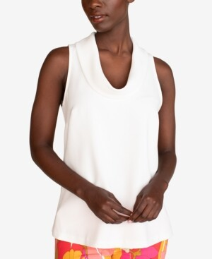 Trina Turk Naples Cowlneck Sleeveless Top