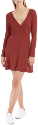 Miss Shop Essentials Wrap Front Long Sleeve Rib Dress Rose