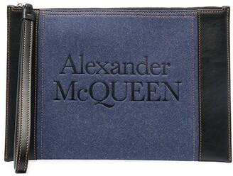 Alexander McQueen Logo-Print Zipped Clutch