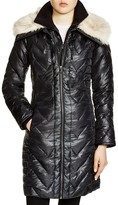 Via Spiga Faux Faux Fur Trim Chevron Puffer Coat