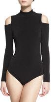 Alice + Olivia Suzi Cold-Shoulder Ponte Bodysuit, Black