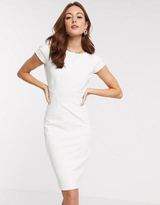 Closet London Closet jersey pencil dress with cap sleeve in cream
