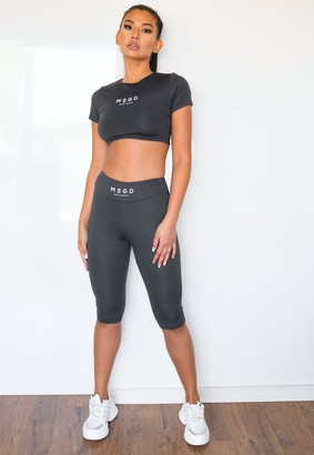 Missguided Tall Slate Msgd Cropped Gym Leggings