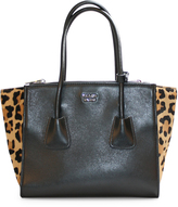 Prada Small Leather and Leopard-Print Calf Hair Twin Pocket Tote