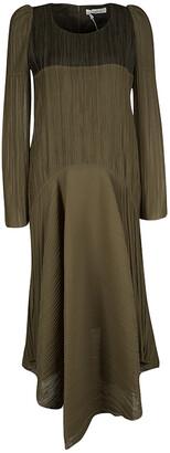 Chloé Light Khaki Plisse Long Sleeve Dress M