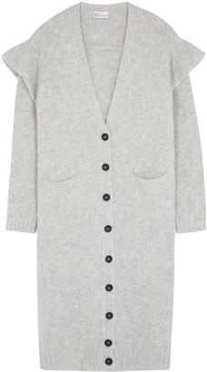 RED Valentino Grey ruffle-trimmed longline cardigan