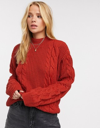 UNIQUE21 chunky cable knit sweater in rust
