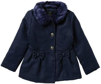 Jessica Simpson Faux Fur Trim Church Coat (Little Girls)