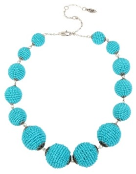 Miriam Haskell New York Woven Turquoise Beaded Ball Collar Necklace