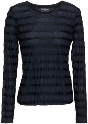 Lanston Striped Crinkled-jersey Top