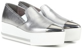 Miu Miu Metallic leather platform slip-on sneakers