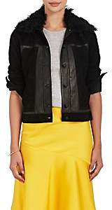 Derek Lam 10 Crosby Women's Toby Shearling-Trimmed Suede Jacket - Black