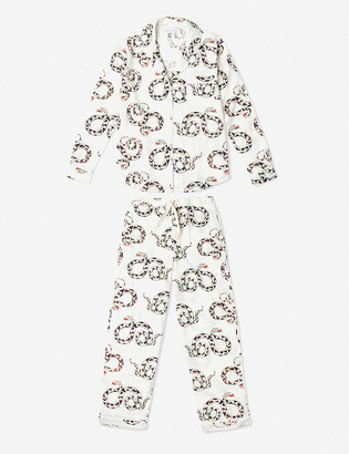 Desmond & Dempsey The Kaa snake-print organic cotton pyjama set