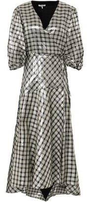 Ganni Checked Silk-blend Lame Midi Wrap Dress