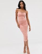 Asos Design DESIGN going out extreme ruched strappy midi dress