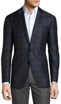 Giorgio Armani Plaid Two-Button Sport Coat, Bright Blue/Navy