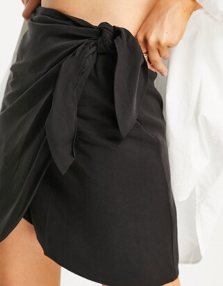 And other stories & wrap front mini skirt in black