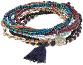 Mudd Flower & Tassel Charm Beaded Stretch Bracelet Set