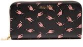 Miu Miu Cat-print leather continental wallet