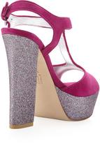 Pelle Moda Yvaine T-Strap Glitter Sandal, Cerise