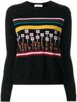 Valentino floral and stripe embroidered sweater