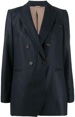 Brunello Cucinelli Double-Breasted Pinstripe Blazer