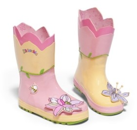 Kidorable Little Girl Natural Rubber Lotus Flowers Boots