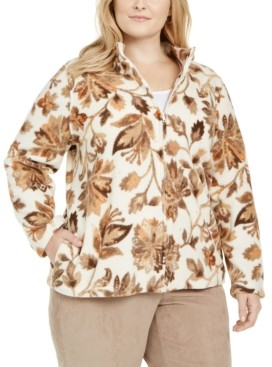 Alfred Dunner Plus Size First Frost Printed Fleece Jacket