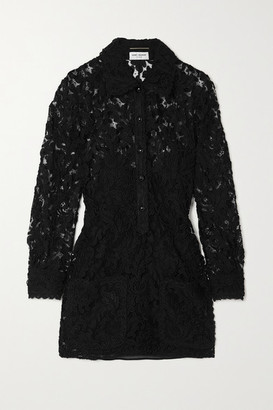 Saint Laurent Corded Lace Mini Shirt Dress - Black