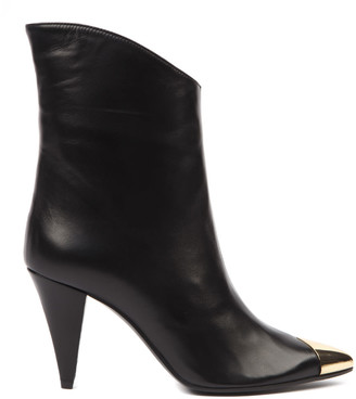 Aldo Castagna Black Leather Boots With Metal Toe