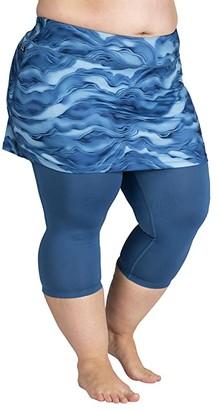 SkirtSports Skirt Sports Plus Size Lotta Breeze Capris Skirt (Lagoon Print/Deep Blue) Women's Casual Pants