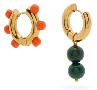 Timeless Pearly Mismatched Beaded Gold-plated Earrings - Gold