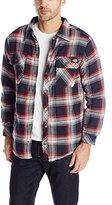 Dickies Men's Sherpa Lined Plaid Shirt Jacket, Dark Navy