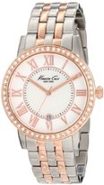Kenneth Cole New York Women's KC4972 Classic Silver Dial Roman Numerals Stone Bezel Bracelet Watch