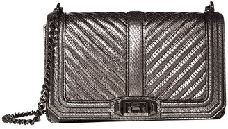 Rebecca Minkoff Chevron Quilted Love Crossbody (Black 1) Cross Body Handbags