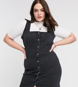 Urban Bliss Plus denim mini dress in black