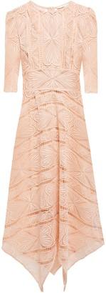 Maje Asymmetric Guipure Lace Midi Dress