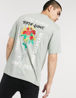 Sixth June t-shirt with rose rock back print in green