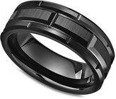 Triton Men's Black Tungsten Carbide Ring, Matrix Band