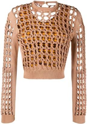 Fendi Interlocked Knit Cropped Top