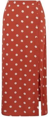 Warehouse Coral Spot Wrap Midi Skirt