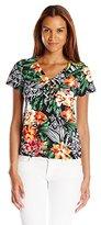 Caribbean Joe Women's Multicolor Printed V-Neck Center-Seam T-Shirt