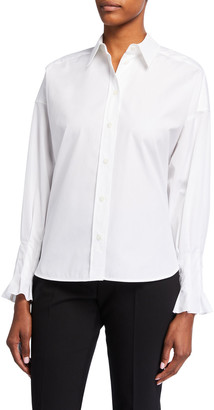 Escada Nerres Pleated-Cuff Poplin Shirt