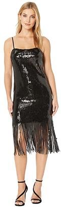 Donna Morgan Stretch Sequin Sleeveless Fringe Hem Shift Dress (Black) Women's Clothing