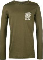 Balmain embroidered lion top